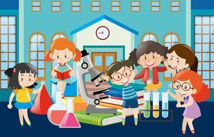 Studenten leren op school vector