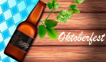 Illustratie voor het festival Oktoberfes op een houten achtergrond vector