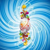 Pasen-illustratie met geschilderd ei en bloemenmotieven op de lenteachtergrond.