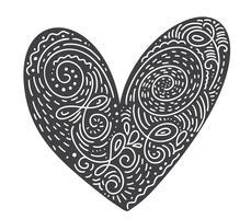 Scandinavische folk handgeschreven hart vector zwart