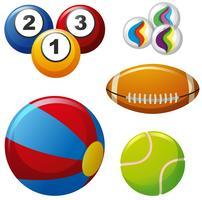Vijf verschillende soorten ballen