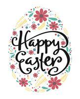 gelukkige Pasen-kalligrafie in ei met uitstekend bloempatroon vector