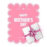 Gelukkige Moederdag. Vector moederdag sjabloon met geschenkdoos, roze boog en lang lint. Vakantie decoratie