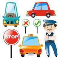 Bestuurder en verschillende soorten auto's
