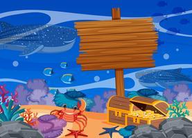 Houten teken sjabloon met onderwater thema vector