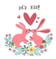 paar roze konijn bunny zoenen in bloem krans vector