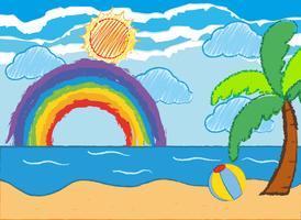 Oceaanscène met regenboog en zon vector
