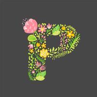 Bloemen zomer Letter P