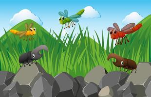 Scène met insecten in de tuin