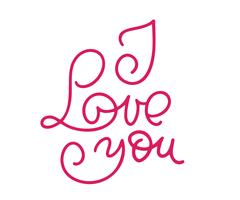 Ik hou van je monoline-kalligrafie. Valentijnsdag kalligrafie glitter kaart