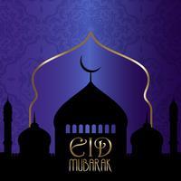 Eid Mubarak-achtergrond met silhouetten van moskees vector