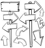 Verschillende ontwerpen van pijlen en planken