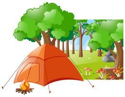 Bosscène met tent en kampvuur