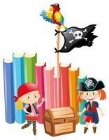 Meisjes verkleed als piratenploegen vector