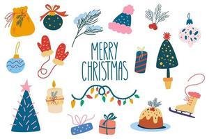 kerst element collectie. speelgoed, cadeaus, slingers, kerstbomen en snoep. vakantie decoratie. vrolijk kerstfeest gelukkig nieuwjaar. cartoon vectorillustratie. vector