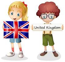 Jongen en meisje met het Verenigd Koninkrijk