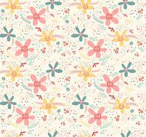 Leuk doodle tropisch eindeloos naadloos de pastelkleurornament van de bloem