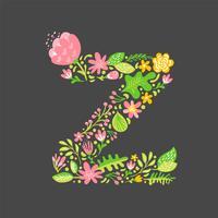 Bloemen zomer Letter Z vector