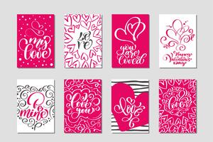 Set Love Vector Valentijnsdag kaarten sjablonen