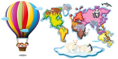 Wereldkaart met dieren en ballonrijden vector