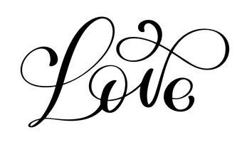 handgeschreven inscriptie LIEFDE voor Happy Valentijnsdag kaart vector