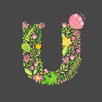 Bloemen zomer Letter U vector