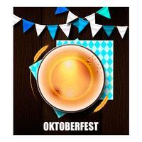 Een realistisch glas bier voor het Oktoberfest-festival vector