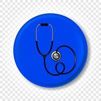 Een realistische medische stethoscoop. Ronde vectorillustratie