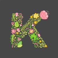 Bloemen zomer Letter K vector
