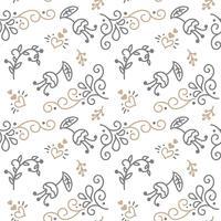 Naadloos patroon met met de hand geschilderde bladeren in Scandinavische stijl vector