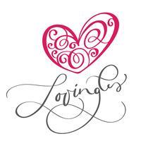 Lovingli-tekst en hart. Ik hou van je briefkaart