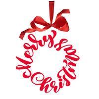 De uitdrukking vrolijke Kerstmis die in een cirkel wordt geschreven vector