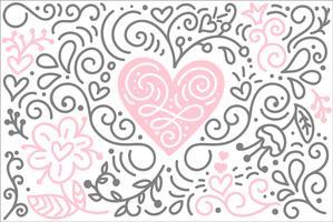Scandinavische folk hart vector met bloemen en bloeien