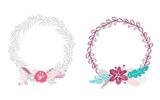 twee bloemenkroon boeketbloemen