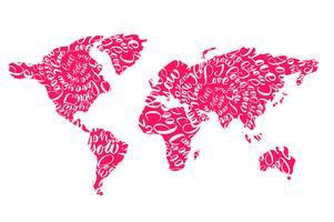 Roze wereldkaart met harten ik hou van je tags voor Valentijnsdag