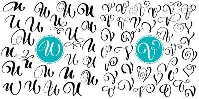 Set van hand getrokken vector kalligrafie letter U, V