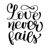 Liefde faalt nooit in christelijke citaattekst vector