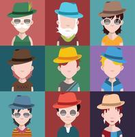 Set van mensen pictogrammen met gezichten