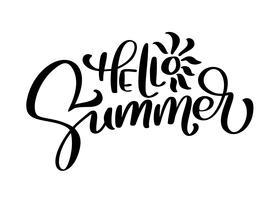 Hallo zomer vector handgeschreven illustratie
