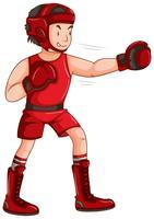 Man in rode outfit doen boksen vector