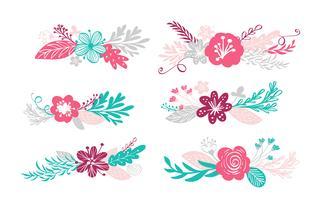 zes boeketbloemen en bloemenelementen vector