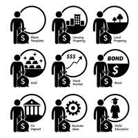 Belegger die investeert in huisvesting, grond, goud, aandelenmarkt, obligaties, zakelijke belangen en kindereneducatie. vector