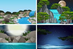 Set van waterval in de natuur achtergrond