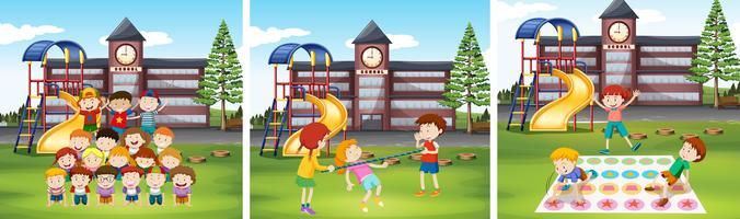 Kinderen spelen spelletjes op schoolterrein vector