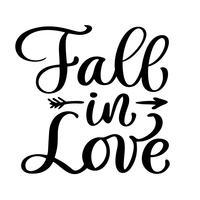 Herfst in liefde briefkaart vector. Zin voor Valentijnsdag. Inkt illustratie. Moderne borstel kalligrafie tekst. Geïsoleerd op witte achtergrond