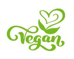 Logo van de veganist het vectorillustratie, voedselontwerp. Handgeschreven letters voor restaurant, café rauw menu. Elementen voor labels, logo's, badges, stickers of pictogrammen. Kalligrafische en typografische collectie