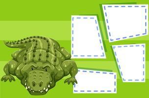 Een krokodil op lege sjabloon vector