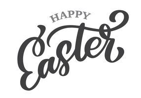 Hand getrokken belettering Happy Easter vector kalligrafie illustratie. Ontwerp voor uitnodigingen, wenskaarten. Geïsoleerd op witte achtergrond