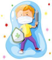 Jongen vecht met een virus vector