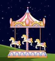 Een carrousel in het park 's nachts